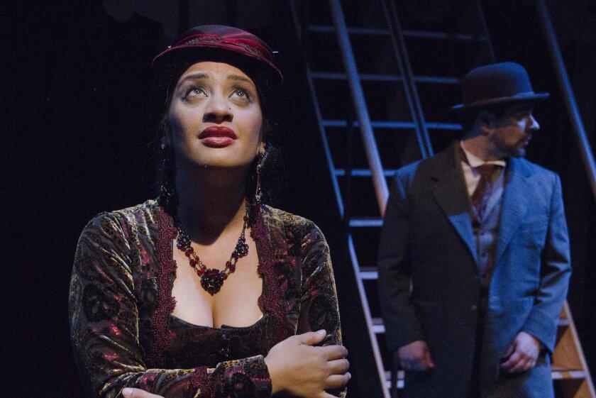 "Kaja Amado Dunn (left) and Jon Lorenz in Lamb's Players Theatre's ""Around the World in 80 Days."""