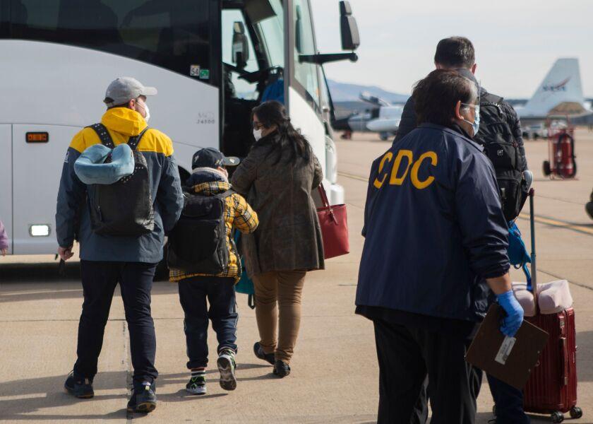 American evacuees arrive at Marine Corps Air Station Miramar