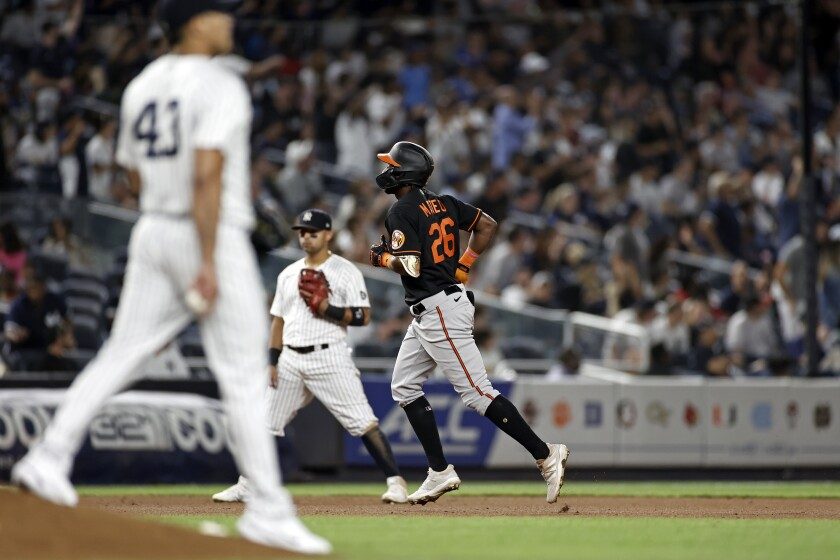 Baltimore Orioles' Jorge Mateo (26) runs the bases after hitting a home run off of New York Yankees pitcher Jonathan Loaisiga (43) during the seventh inning of a baseball game Friday, Sept. 3, 2021, in New York. (AP Photo/Adam Hunger)