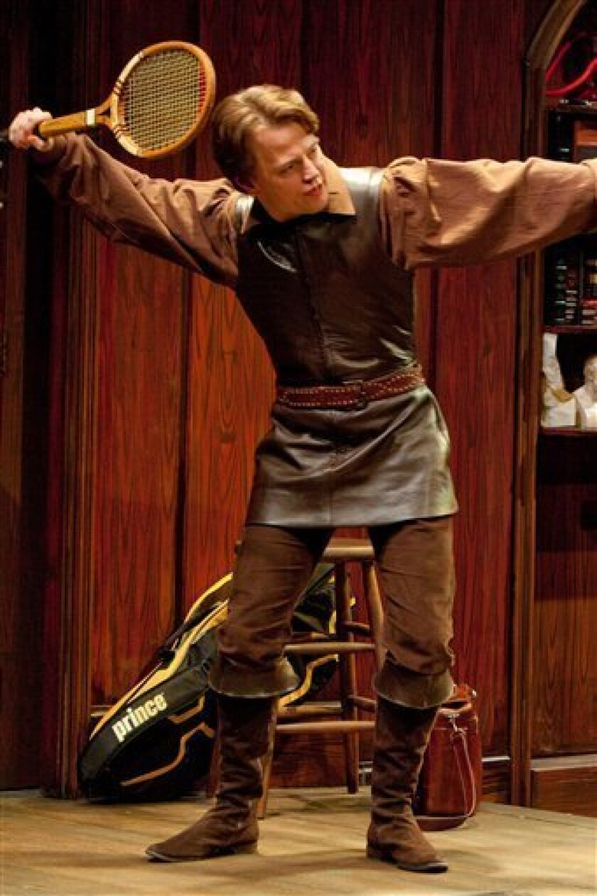"""In this theater publicity image released by The Pearl Theatre Company, Sean McNall portrays Hamlet in a scene from """"Wittenberg,"""" in New York. (AP Photo/The Pearl Theatre Company, Sam Hough)"""