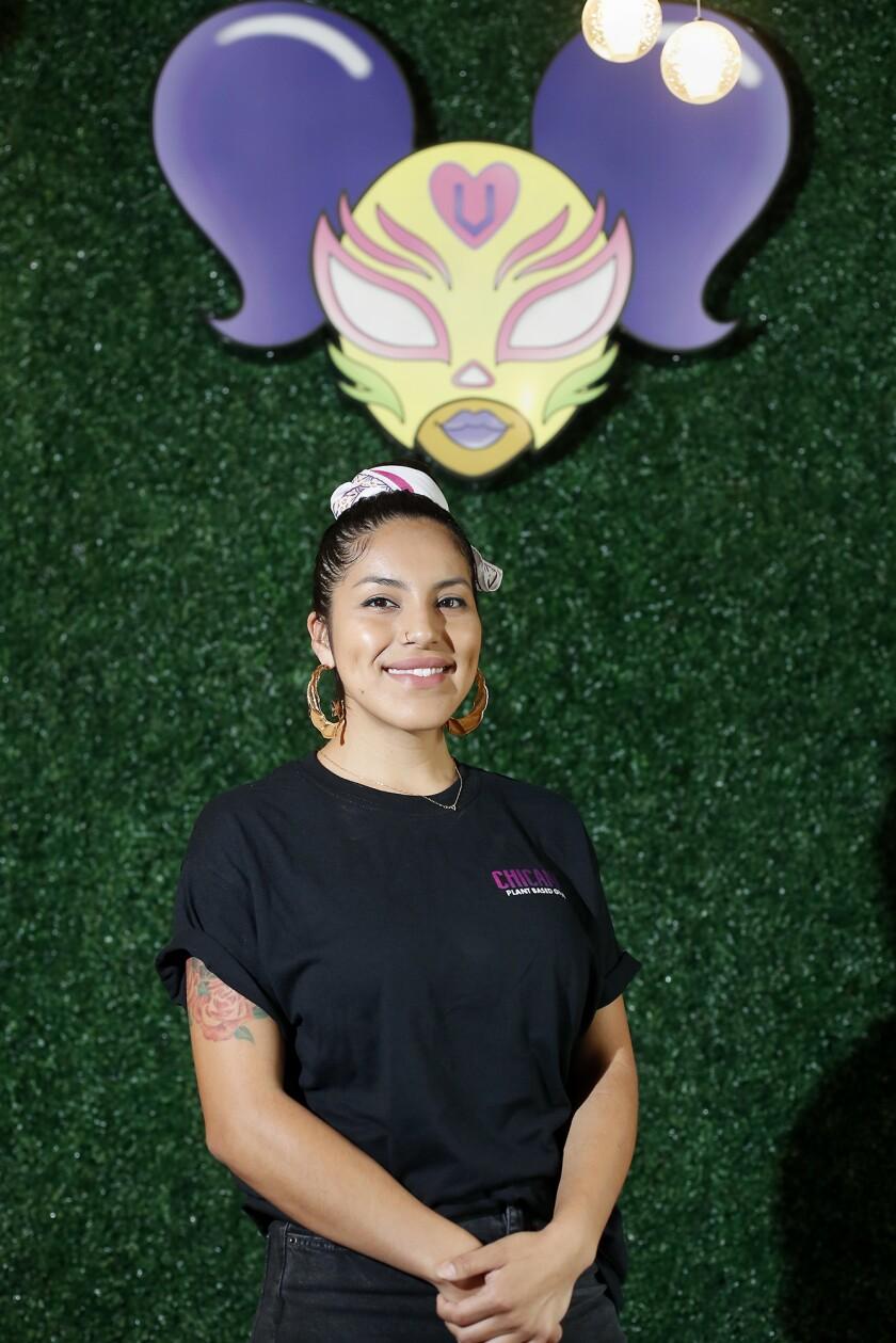 Jasmine Hernandez stands inside her soon-to-open Chicana Vegana in Fullerton.