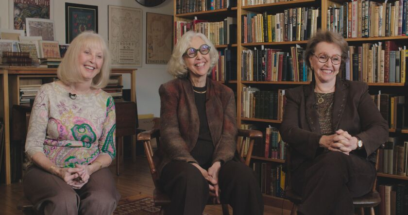 Adina Cohen, Judith Lowry and Naomi Hample, sisters and owners of New York's Argosy Book Store, in 'The Booksellers'