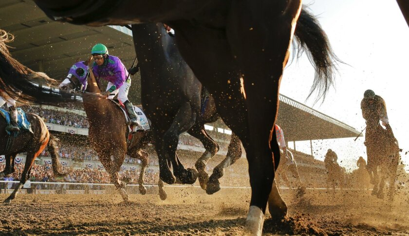 California Chrome with Victor Espinoza, in green helmet, up finishes fourth in the Belmont Stakes.