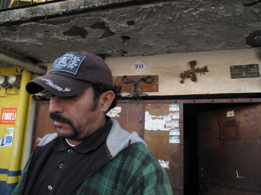 Edgar's father, David Antonio Jimenez Solis, outside his home in Tejalpa, Mexico, in February.