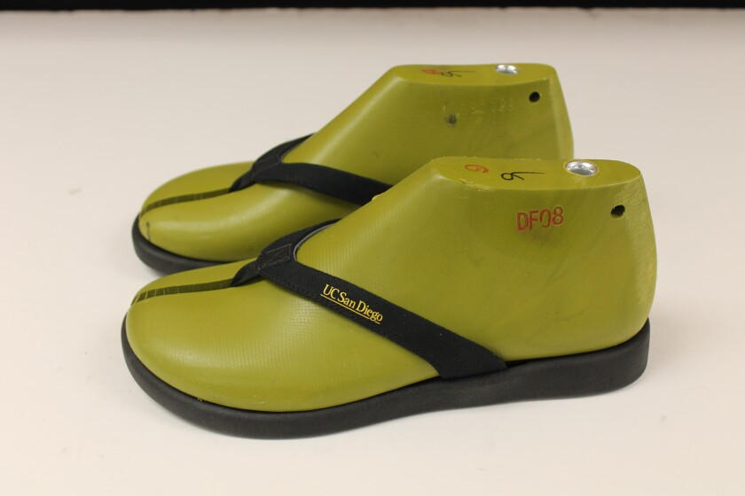 UC San Diego and La Jolla-based Algenesis Materials developed a renewable and biodegradable flip-flop made from algae.