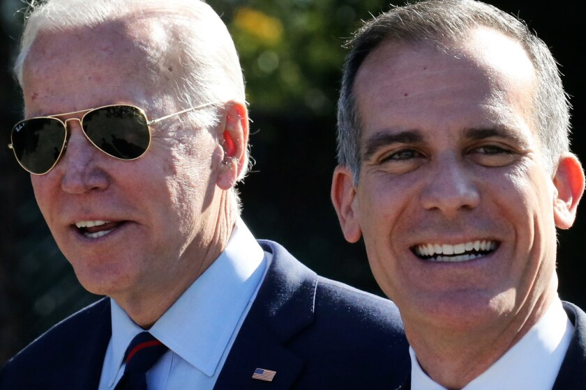 President-elect Biden, left, and L.A. Mayor Eric Garcetti on Jan. 10, 2020