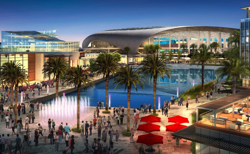 An artist's rendering of the proposed Rams stadium complex in Inglewood