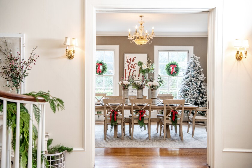 Leslie Saeta's dining room is ready for the holiday party.