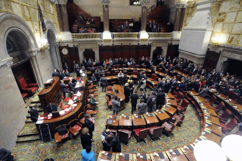 New York state Senators meet in the senate chamber at the Capitol in Albany in this file photo.