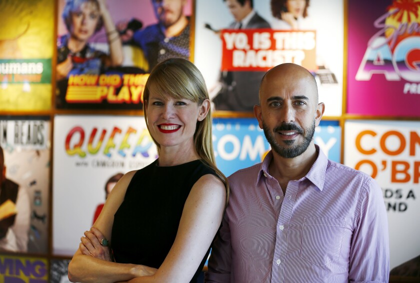 """Jessica Bendinger, left, and Michael Seligman, hosts of the podcast """"Mob Queens,"""" at Stitcher studios in Hollywood."""