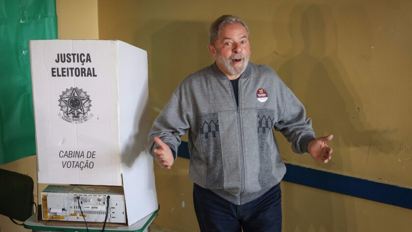 Former Brazilian President Luiz Inacio Lula da Silva after casting his ballot Sunday in the municipal elections in Sao Paulo.
