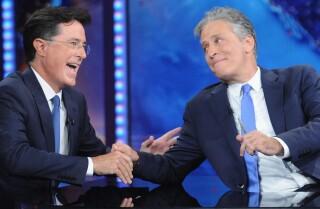 Jon Stewart's 'Daily Show': Stephen Colbert's sendoff? Sweet. Jon McCain's? Sarcastic