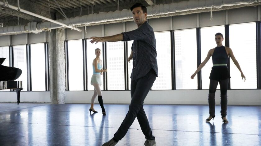 LOS ANGELES, CA September 21, 2018: Lincoln Jones, middle, the choreographer for the American Co