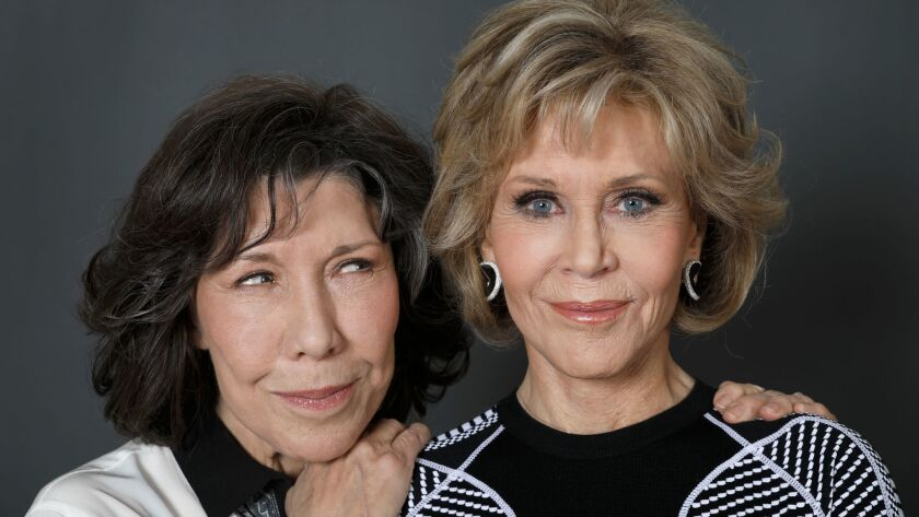 LOS ANGELES, CALIF. -- MONDAY, NOVEMBER 20, 2017: Lily Tomlin and Jane Fonda, who star in Netflix's