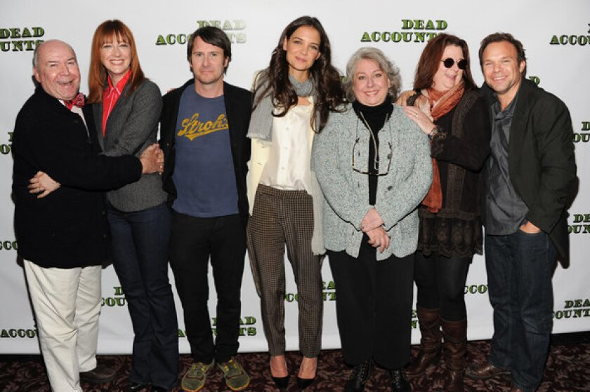 """The cast of the Broadway play """"Dead Accounts,"""" from left, Jack O'Brien, Judy Greer, Josh Hamilton, Katie Holmes, Jayne Houdyshell, Theresa Rebeck and Norbert Leo Butz pose for a photo in New York."""