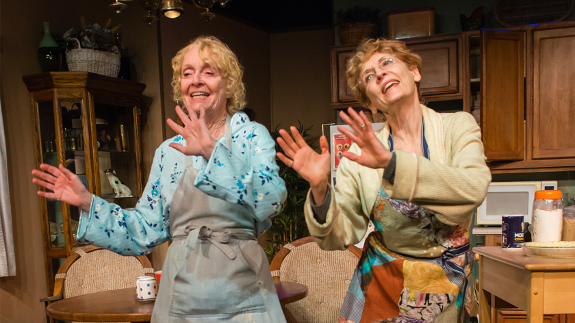 "K Callan, left, as Mama and Laurie O'Brien as Dory in ""Pie in the Sky."""