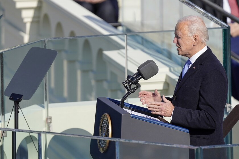 Joe Biden speaks after being sworn in as the 46th president of the United States.