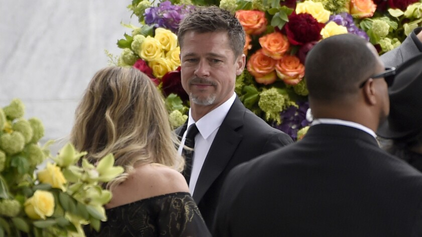 Brad Pitt attends a memorial service for Chris Cornell at the Hollywood Forever Cemetery in Los Ange