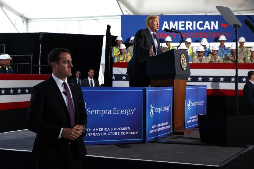 Trump at Cameron LNG Export Facility