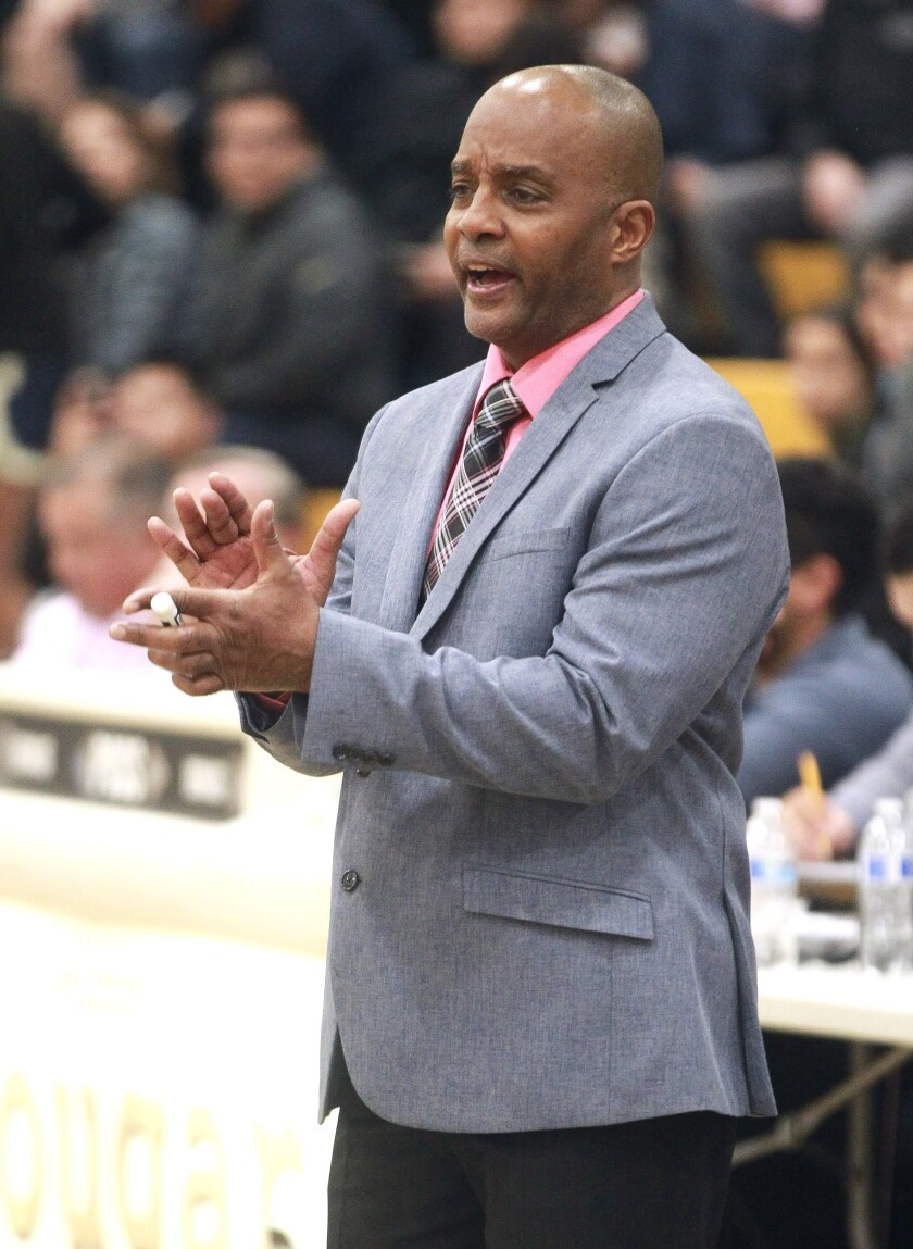San Ysidro's coach Terry Tucker during a game against Rancho Christian at San Ysidro High School on Jan. 10.