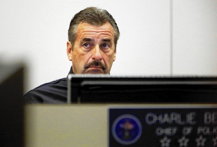 LAPD Chief Charlie Beck at the Los Angeles Police Commission meeting where he was appointed to a second term on a 4-1 vote.