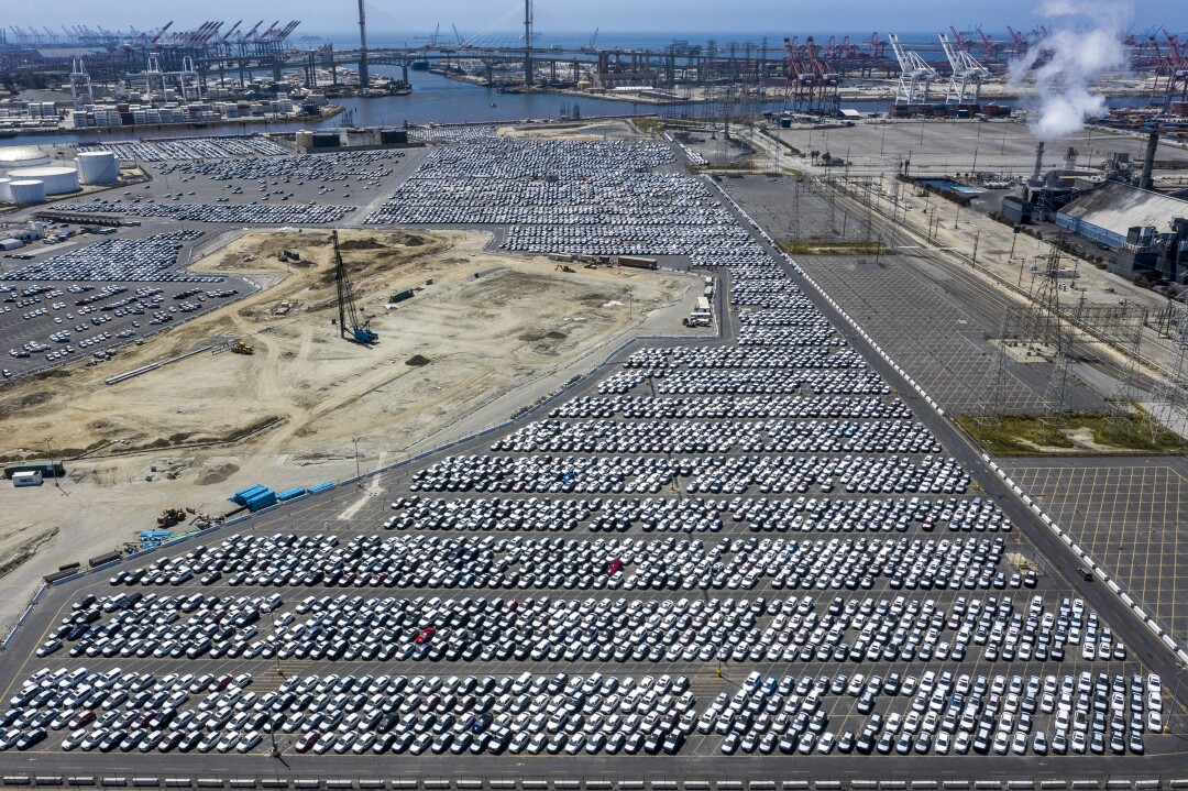 New cars stored at Port of Long Beach