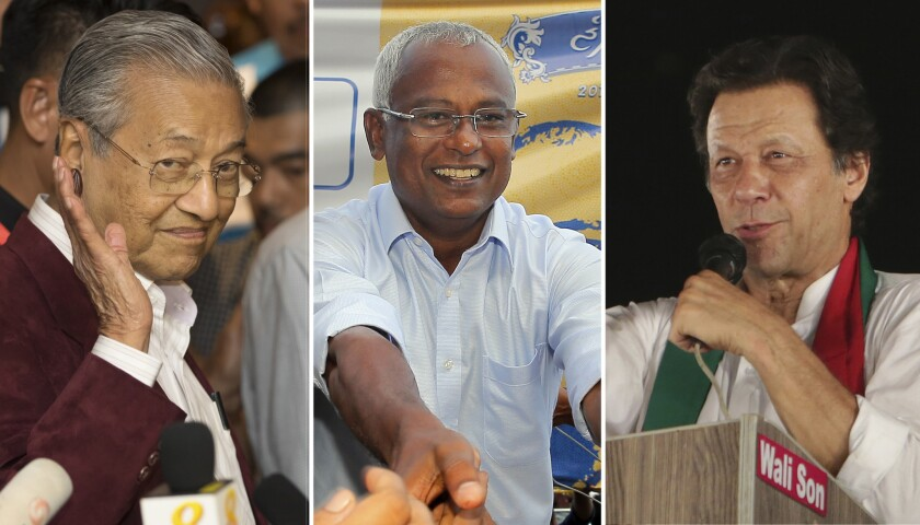 This combination of file photos show, from left to right; then Malaysia's President-elect Mahathir M
