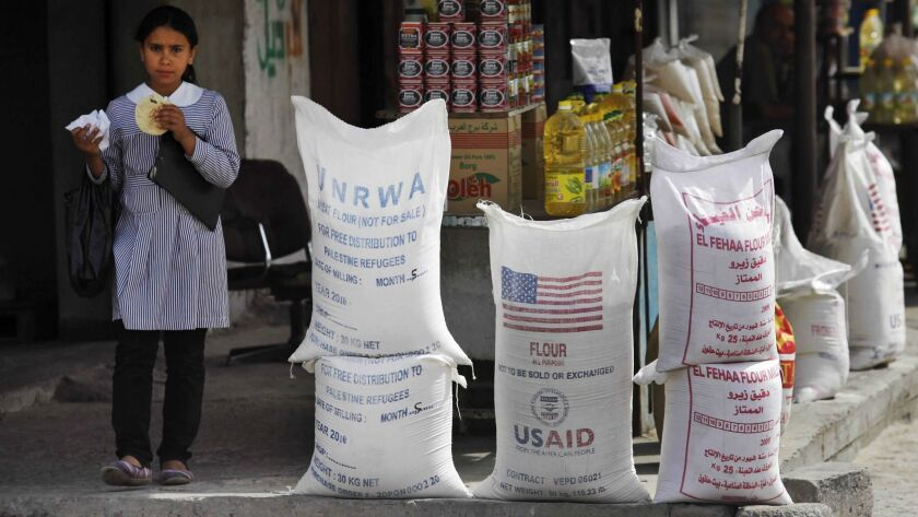 File - In this June 6, 2010 file photo, sacks of flour, some part of humanitarian aid by UNRWA and U