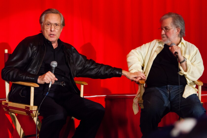 "William Friedkin, left, and Tobe Hooper hold a conversation about 1974's ""The Texas Chain Saw Massacre"" at a July 21 screening of the 40th anniversary restoration of the film at the Vista in Los Angeles."