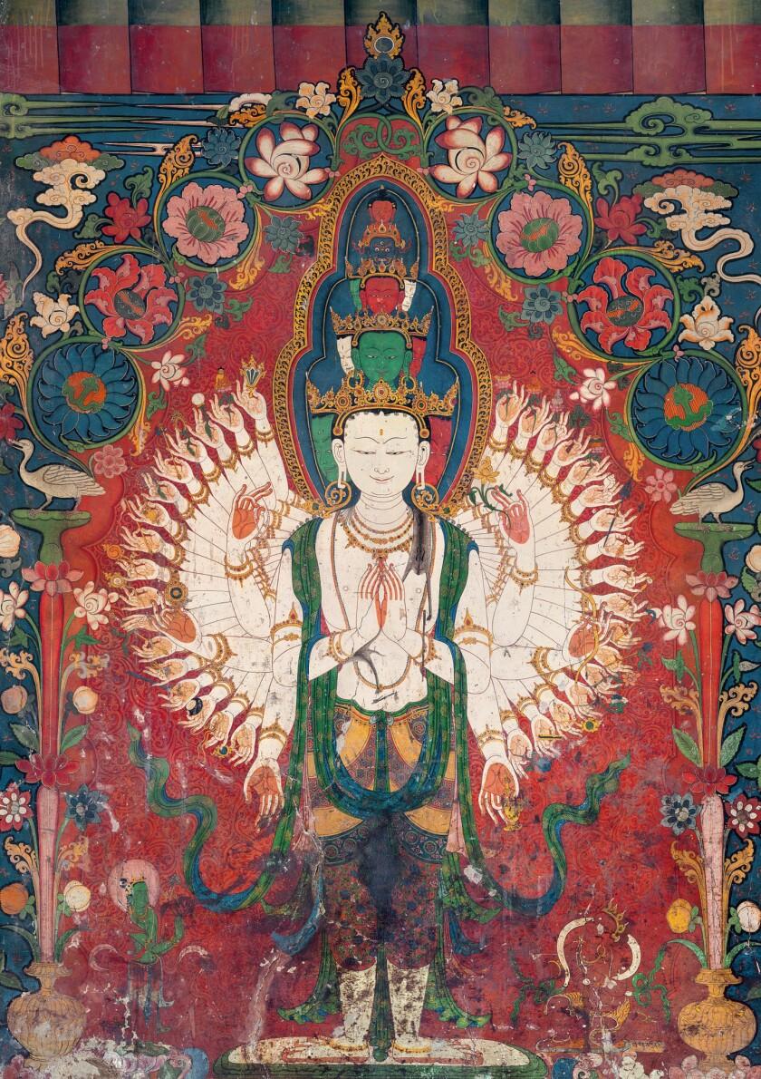"""Eleven-Headed Avalokiteshvara,"" 15th century, from Gyantse Kumbum, 65 inches by 45 inches, from Taschen's ""Murals of Tibet."""