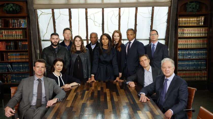 "HOLLYWOOD,CA --MONDAY, MARCH 12, 2018--The cast of ABC's ""Scandal,"" led by Kerry Washington, center,"