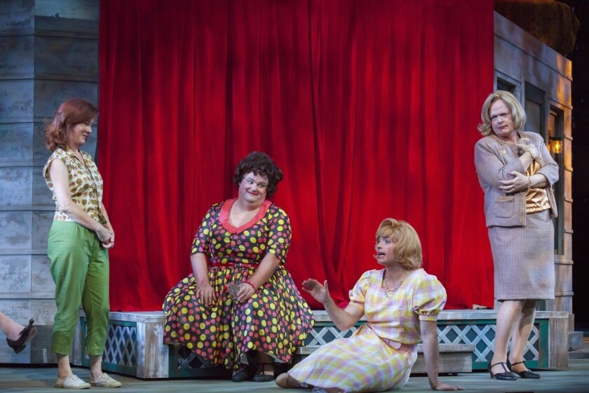 "Valerie Mahaffey, left, Raymond McAnally, James Snyder and Christian Clemenson in ""Casa Valentina"" at the Pasadena Playhouse."