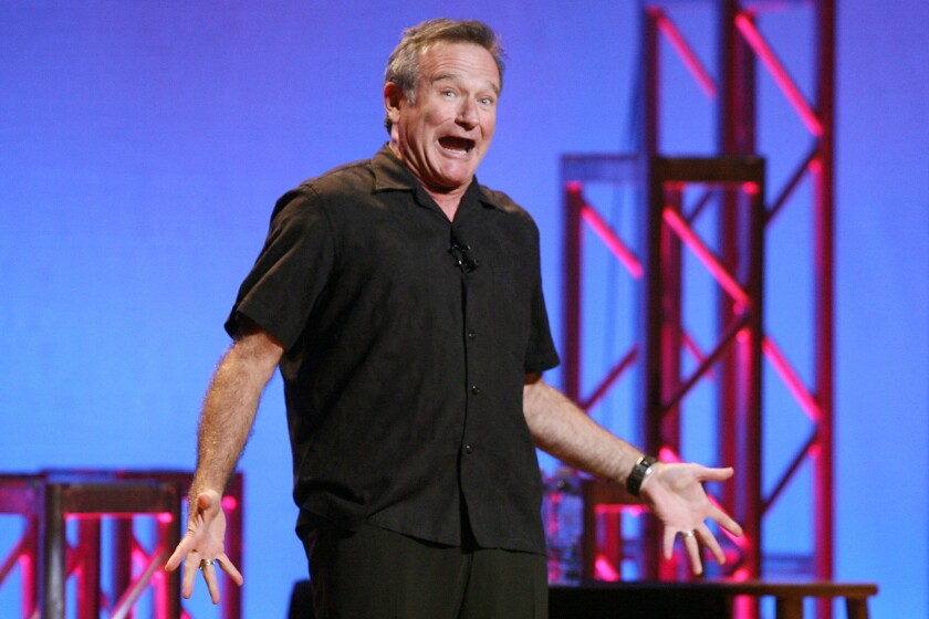 The late Robin Williams is shown performing at Town Hall in New York in 2009.