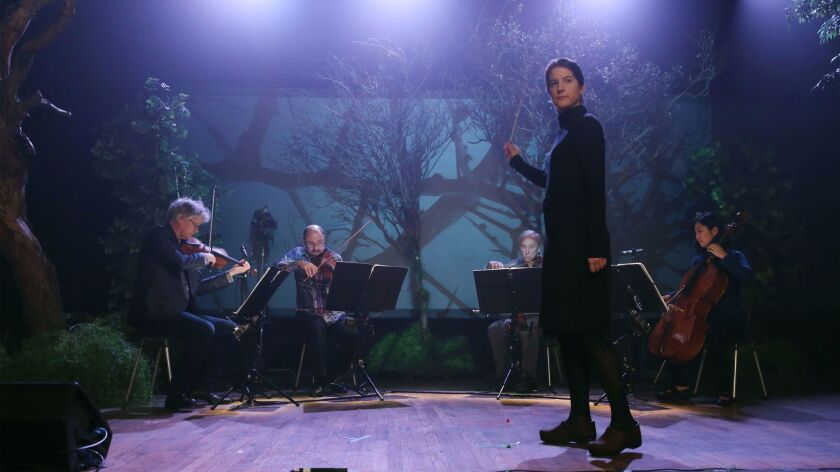 Kronos Quartet with composer Lisa Bielawa conducting Episode 1, shot at the Yost Theater in Santa An