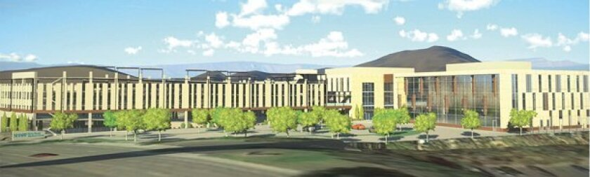 An artist's rendering of the new Sharp Rees-Stealy Rancho Bernardo Medical Center, currently under construction at 16899 W. Bernardo Drive. It is set to open in late 2017.