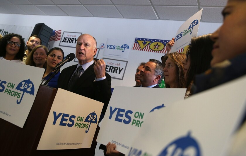 Gov. Jerry Brown speaks at a get-out-the-vote rally Monday in Pleasanton, Calif.