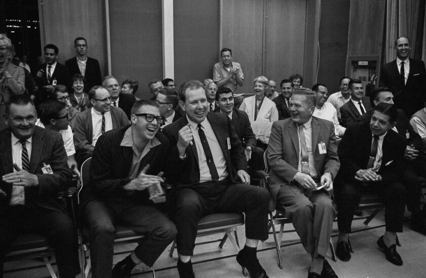 June 2, 1966: California Institute of Technology scientists and engineers reacting to news that Surv