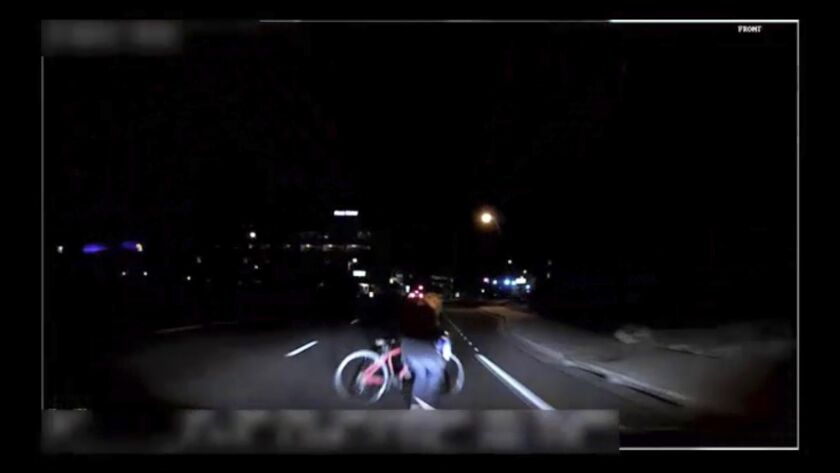 An image from a camera mounted on the self-driving Uber SUV that hit and killed a pedestrian in Tempe, Ariz.