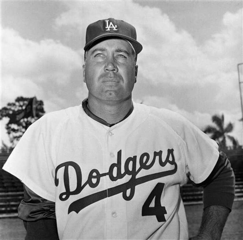 FILE - In this March 1959 file photo, Los Angeles Dodgers' Duke Snider poses for a photo during baseball spring training. Snider, 84, died early Sunday, Feb. 27, 2011, of what the family called natural causes at the Valle Vista Convalescent Hospital in Escondido, Calif. Snider was part of the charm