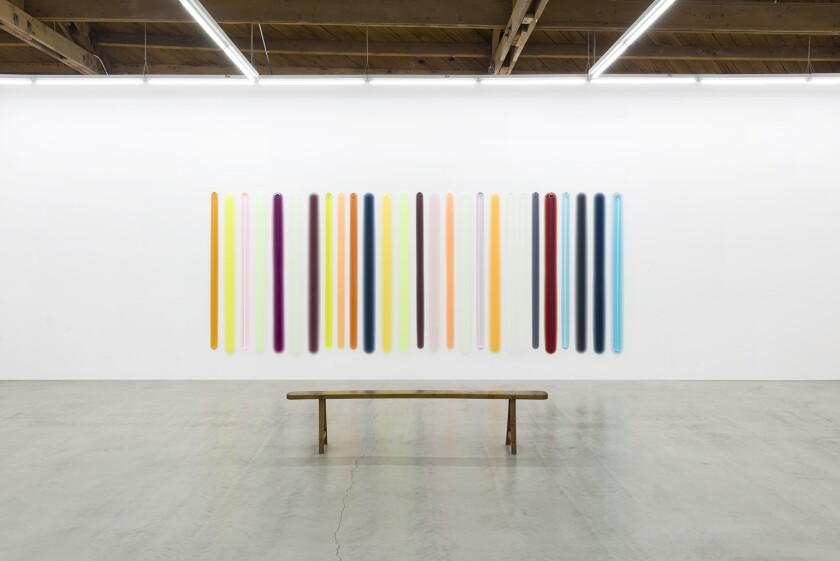 Later sculptures by Peter Alexander featured buoyant color — such as this installation shown at Parrasch Heijnen Gallery in Los Angeles in January.