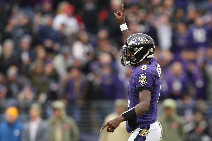 Baltimore Ravens quarterback Lamar Jackson in a game against Houston