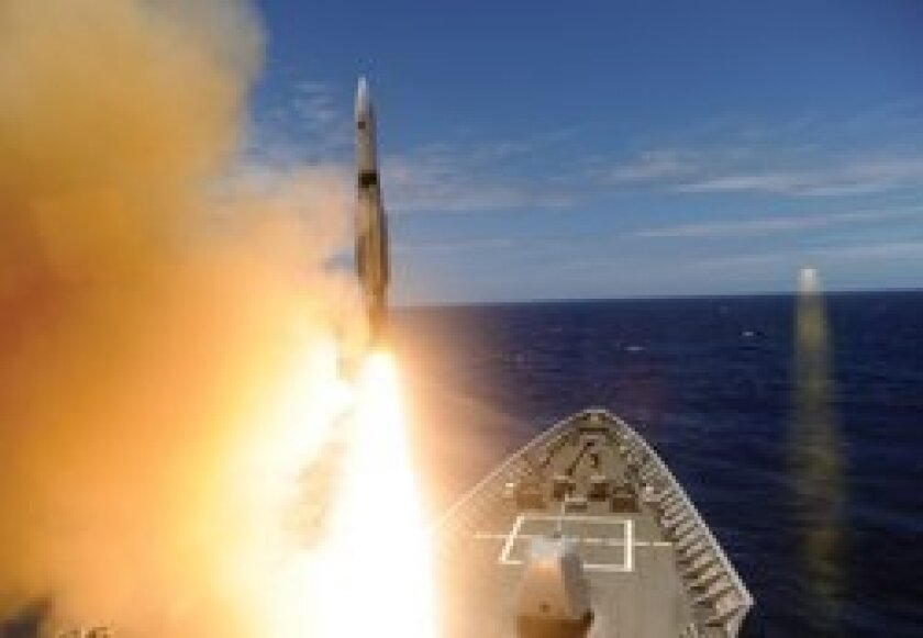 USS Lake Erie (CG 70) fires a standard missile two. Rim of the Pacific (RIMPAC) 2012. Twenty-two nations participate in the world's largest maritime exercises to insure safety and security on the world's oceans. Photo/MC2 Derek R. Sanchez