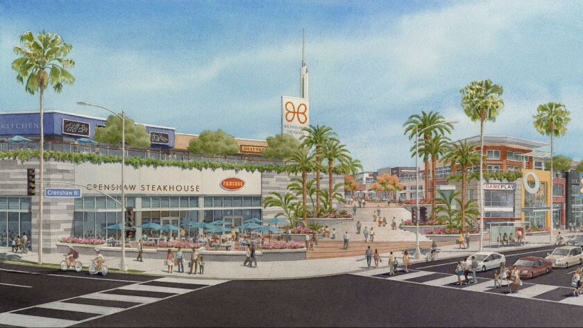A rendering of the proposed redevelopment of the Baldwin Hills Crenshaw Plaza mall