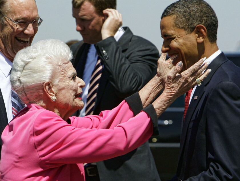 Former Arizona Gov. Rose Mofford meets with President Obama in 2009 before the president boarded Air Force One in Phoenix.