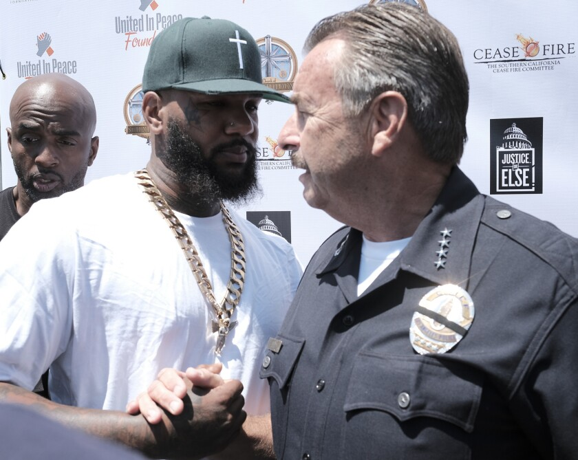 Rapper The Game meets with Los Angeles Police Chief Charlie Beck