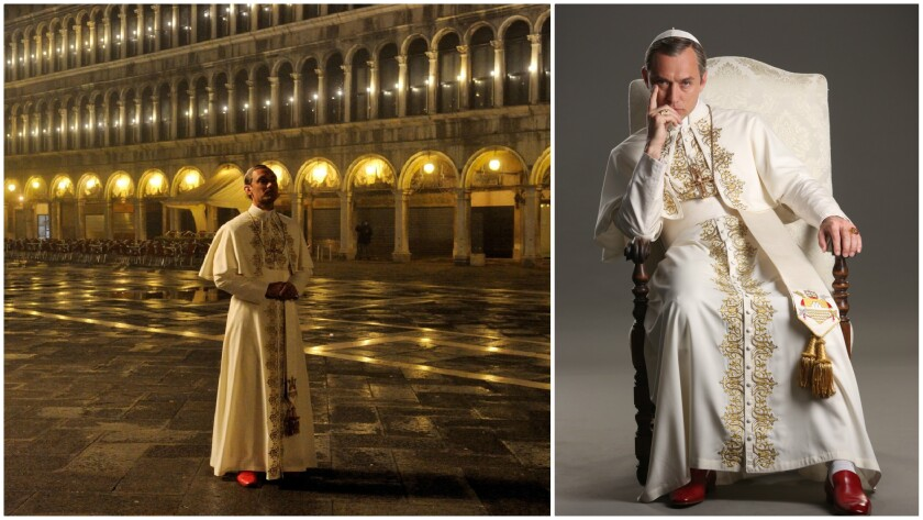 """A still from """"The Young Pope"""" and Jude Law as Pope Pius XII."""