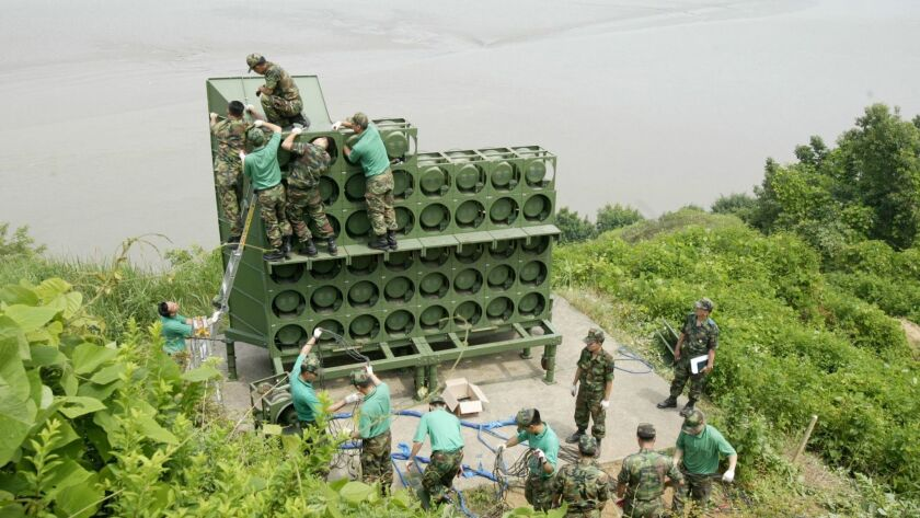 South Korean propaganda loudspeakers along border with north to be dismantled, -, Korea - 30 Apr 2018