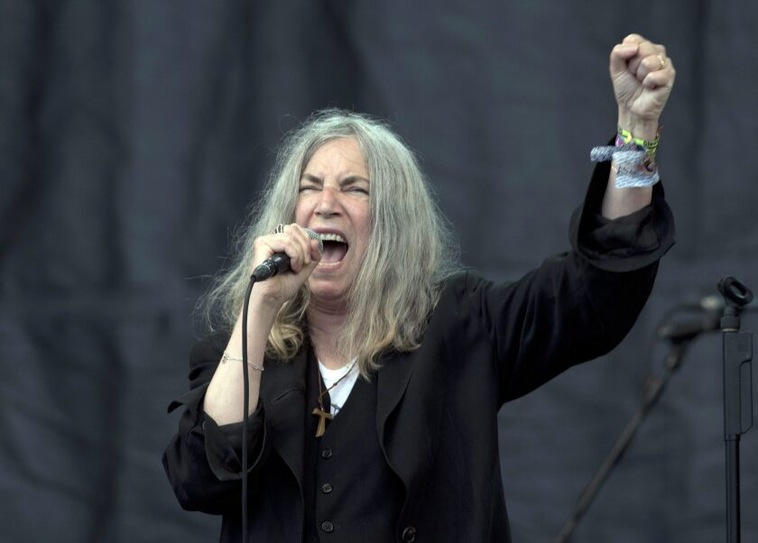 US singer-songwriter Patti Smith performs on The Pyramid Stage on the fifth day of Glastonbury Festival of Contemporary Performing Arts 2015, held at Worthy Farm, near Pilton, Somerset, Britain, 28 June 2015.