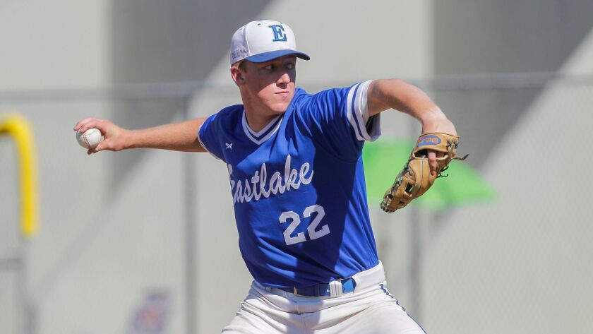 CHULA VISTA, May 24, 2017 | Eastlake's Grant Holman pitches to Madison during the San Diego Section