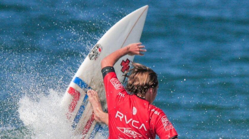 Newport Beach's Tyler Gunter surfs at 56th Street in Newport Beach last week in the RVCA Pro Junio